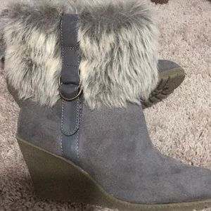 Gray wedge bootie with fur trim